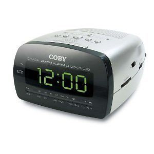 Coby CRA58 LED Digital AM/FM Alarm Clock Radio Big Display Sliver