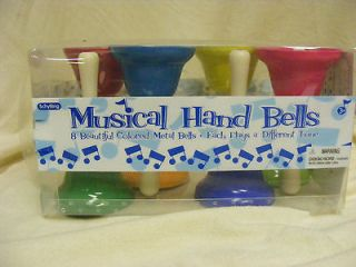 NIB Musical Hand Bells Set Of 8 Colored Metal Bells With 8 Notes And