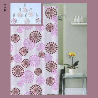 Retro/Vintage Design Fabric Shower Curtain W/ Metal/Ceramic Hooks