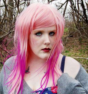 PINK LEMONADE wig / Scene Pastel Pink Neon Purple / Hair Long Straight