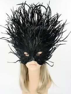 Masquerade Mask Women Black Feather Lion Costume Carnivale New Years