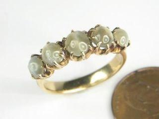 SUPERB ANTIQUE ENGLISH 18K GOLD 5 STONE CATS EYE CHRYSOBERYL RING