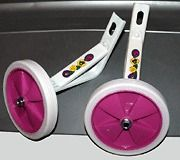 Bicycle Training Wheels For 16 Bikes   White & Pink Wheels