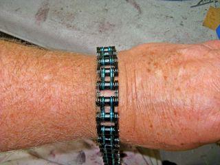 Mens Stainless Steel Harley black and teal Motorcycle Chain Bracelet