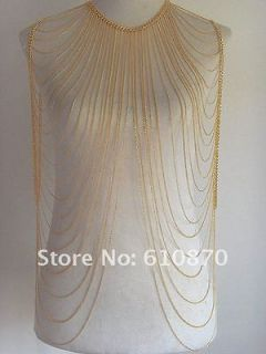 GOLDEN COLOR LONG WOMEN BODY CHAIN NECKLACE JEWELRY FASHION NECKLACE