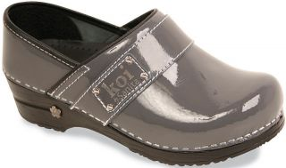 Sanita Womens (KOI LINDSEY) Steel Gray (Patent Leather Prof Clogs)