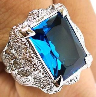 BIG BLUE TOPAZ DRAGON CLAW AXE SILVER PLATED RING 9.5