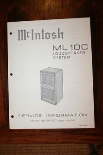Mcintosh ML 10C ML10C Speaker Service Manual *Original*