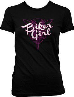 Motorcycle Chick Pink Chopper Tough Woman Bike Fast Juniors T Shirt