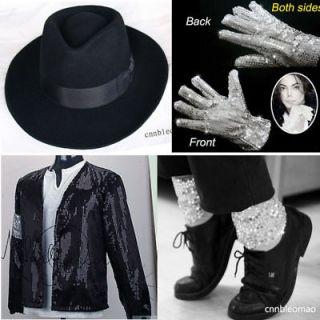 4PCS MICHAEL JACKSON Billie Jean Jacket+Hat+Glove+Socks