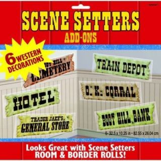 western signs cowboy birthday party scene setters decor time left