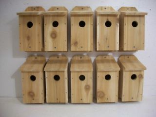 10 CEDAR BLUE BIRD WOOD BIRDHOUSE BIRD HOUSE FEATHERS