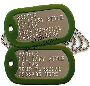 custom Military DOG TAGS set Army OD Green silencers Soldier ID tag