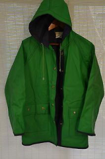 vintage 80s kelly green HOODED RAINCOAT by ROI Shoreline Size Medium