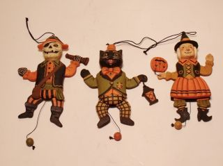 Bethany Lowe Greg Guedel Jumping Jack Halloween Ornaments Set of 3