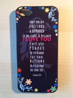 iphone 5 cover case black christian Bible verse Isaiah 43 4
