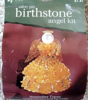 NIP Darice Safety Pin Birthstone November Topaz Beads Angel Ornament