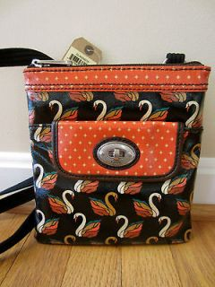 Fossil Key Per Swan Bird Multi Color Brown Mini Cross body Bag Purse