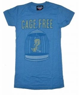 New Authentic Junk Food Tweety Bird Cage Free Juniors T Shirt