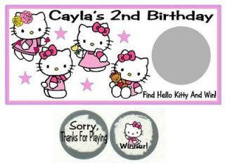 10 Hello Kitty Birthday Party Baby Shower Scratch Off Game Cards