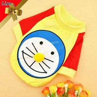 Hot Adorable Big Face Cartoon Cat T shirt Puppy Dog Cat Pet Clothes S