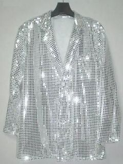 Cabaret Disco Fancy Party Dance Singer Glitter Sequin Jacket Silver