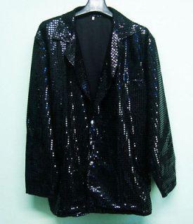 Men Cabaret Disco Fancy Party Dance Singer Glitter Sequin Jacket Black