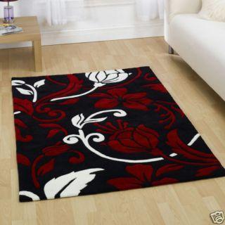 Damask Black Red White Home Area Modern Rug 160x220cm