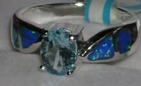 Newly listed Genuine Blue Topaz & Blue Opal Ring Size 5 6 7 8 9