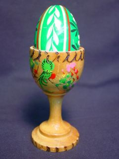 Vtg Wooden Egg Cup Wood Hand Painted Old Figurine Tropical Bird Toucan