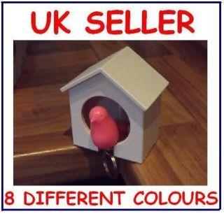 SPARROW Birdhouse & Whistle Key Ring & Holder   8 Colours   UK NEW