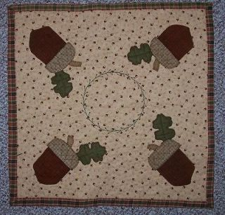 Autumn acorns table runner candle mat wool penny Mini Quilt Top