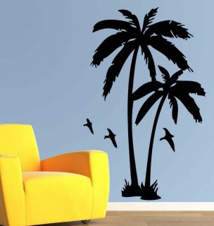 Palm Tree Island w/ Bird Wall Decor Vinyl Decal Sticker