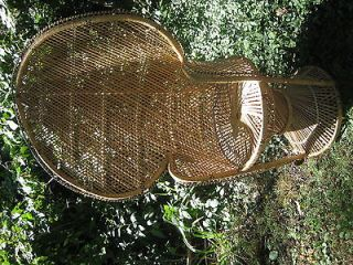 Vintage retro Hollywood regency kwid HUGE wicker peacock fan chair WOW