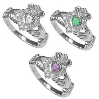 Newly listed Sterling Silver Claddagh Birthstone Ring April May June