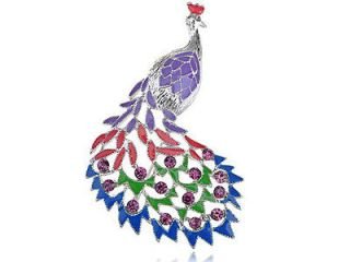 Crystal Colorful Rhinestone Peacock Bird Feather Brooch Costume Pin