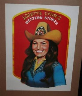 Vintage 1981 LORETTA LYNN Western Store POSTER 18x24 VERY RARE Country