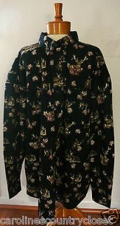 RUGGED EARTH OUTFITTERS SHIRTS~Long Sl~Deer & Hunting Design~Mens XXL