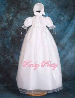 Baptism Christening Long Gown Dress Bonnet Robe Size 3 6month CN001