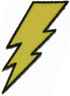Lightning Bolt Yellow Black Logo Iron On Applique Patch