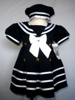 BABY GIRL & TODDLER SAILOR FORMAL OUTFITS DRESS NAVY S,M,L,XL,2T,3T