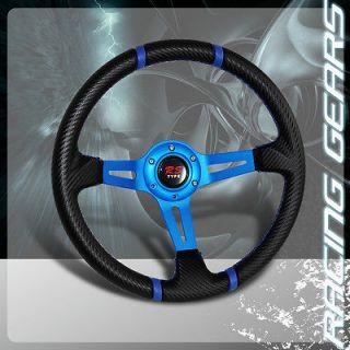 Universal JDM Blue 320mm Carbon Fiber Style PVC Leather Deep Dish