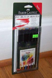 FABER CASTELL 6 PITT ARTIST PEN BASIC COLORS BRUSH MARKERS SEALED NEW