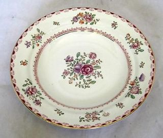 1950s Booths English Silicon China 7 1/4 Round Flat Soup Bowl Pinks