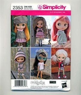 12 Blythe Doll Wardrobe Pattern Simplicity 2353 Uncut Factory Folded