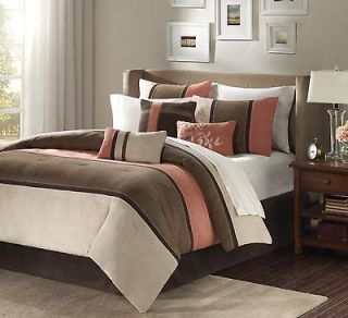 BEAUTIFUL 7 PC MICRO SUEDE WARM CORAL & BROWN QUEEN COMFORTER BED SET