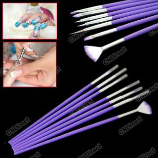New Fashion 7 PCS Purple Nail Art Design Pen Tools Dotting Brush Set