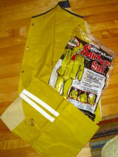 Vintage Waterproof RUBBER Slicker Overalls Small Yellow Boating S