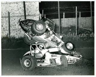 ~USAC/CRA Sprint Car, dirt track racing crash, Tony Simon/Bruto, 8x10