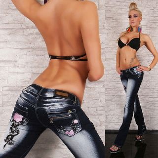 Sexy Blue Quest Bootcut stretchy Jeans tattoo dark Blue washed Size UK
